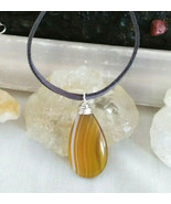 Necklace with Yellow Banded Agate Pendant Sliver Wire Wrapped for Women ... - $17.33