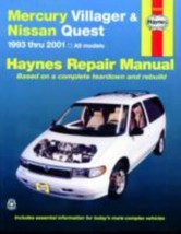 Mercury Villager and Nissan Quest, 1993-2001 Haynes Repair Manual - $15.95