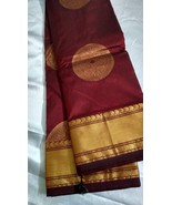 100% pure silk saree sari kanchipuram Maroon golden jari booti party wea... - $88.11