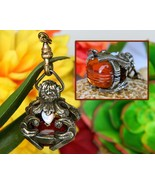 Vintage Ornate Pocket Watch Fob Pendant Charm Opals Carved Art Glass - $72.95