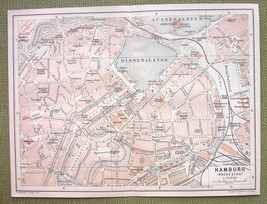 GERMANY Hamburg Town Center - 1904 MAP ORIGINAL Baedeker City Plan - $4.72