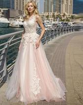 Elegant Lace Wedding Dresses A-line Light Pink Beach Bridal Gown O-Neck Sleevele image 4