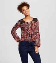 Juniors Xhilaration Lace Up Stretch Knit Top Print Bishop Sleeve Red/Bl... - $5.93