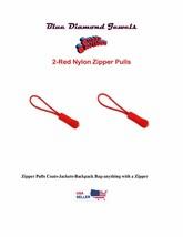 2 pcs-Red Zipper-Pulls-Cord-Nylon-Jackets-Backpacks USA SELLER FAST SHIP... - $3.99
