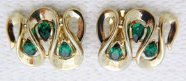 VTG 1950s CROWN TRIFARI Gold Tone Green Rhinestone Ribbon Clip Earrings ... - $74.25