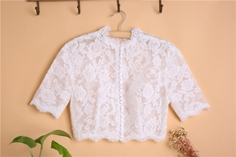 Button Down Short Sleeve Lace Tops Boho Wedding Crop Lace Top WD163 image 1
