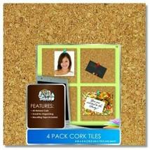 """Board Dudes 6"""" x 6"""" Light Cork Tiles 4-Pack"""