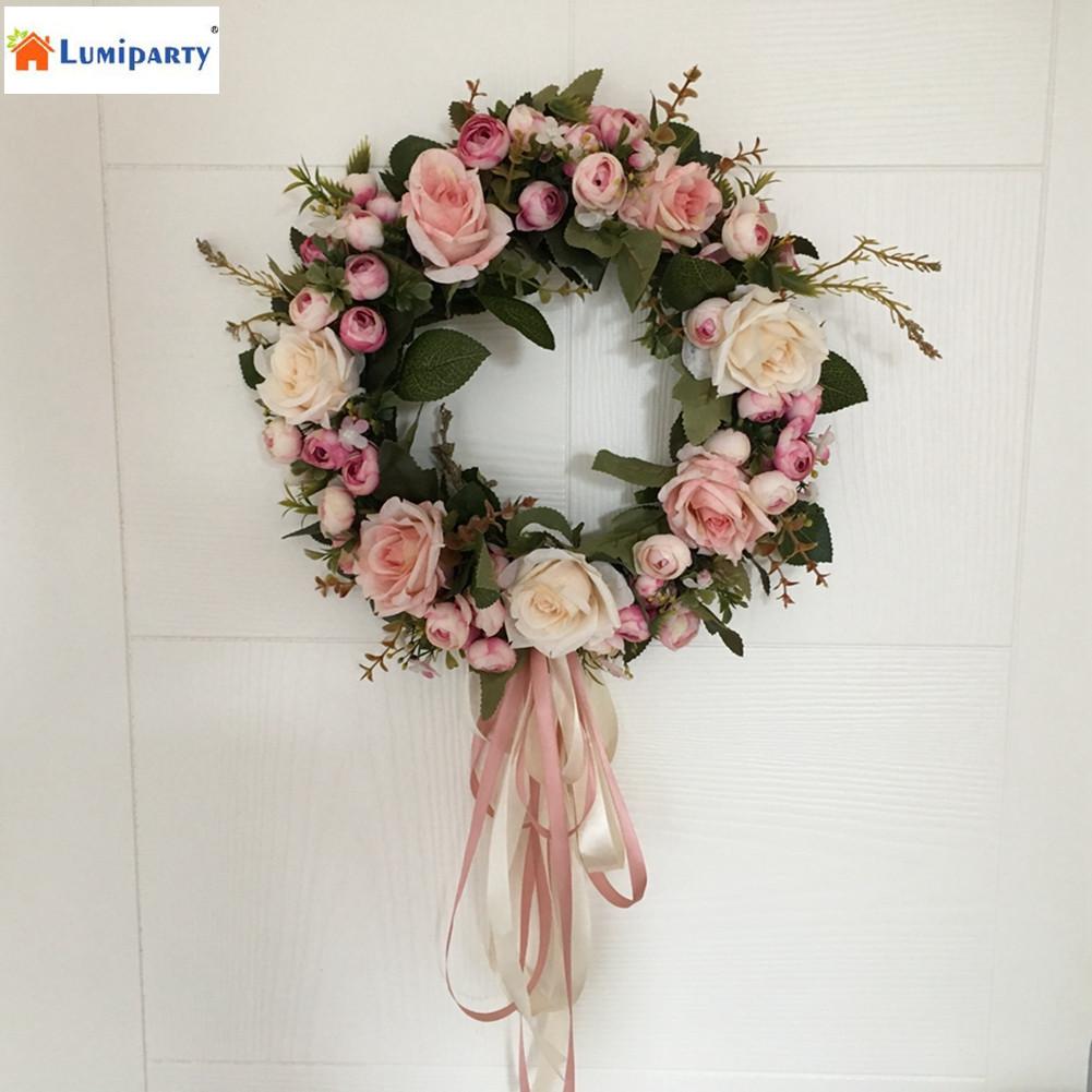 Icial rose wreath door hanging wall window decoration wreath holiday festival wedding decor 40cm