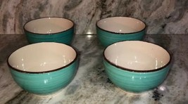 Set Of 4 Royal Norfolk Turquoise Swirl Stoneware Bowls-RARE-BRAND NEW-SHIP N 24H - $34.53