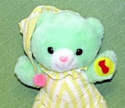 Vintage TEDDY BEAR MTY Green Yellow Striped Jumper Red Felt Duck Plush T... - $19.80