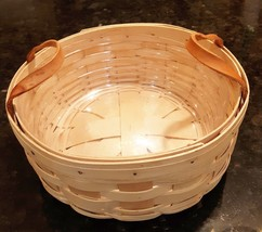 1998 Longaberger 10 in round Basket w/Leather Handles & Plastic Protector VGUC - $10.00
