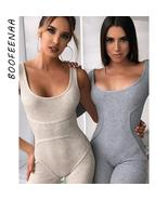 BOOFEENAA Cozy Cotton Ribbed Knit Rompers Womens Clothes One Piece Bodyc... - $30.82+