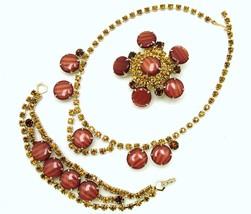 Vintage Necklace Bracelet Brooch In Orange Striped Lucite & Citrine Rhin... - $44.95