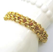 Rhinestone Bracelet, Amber Color, Box Clasp, Etched Links, Gold Tone, Pr... - $22.00