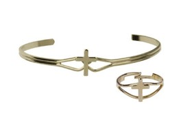 Cross - Bracelet & Ring - First Communion set - Gold Plated