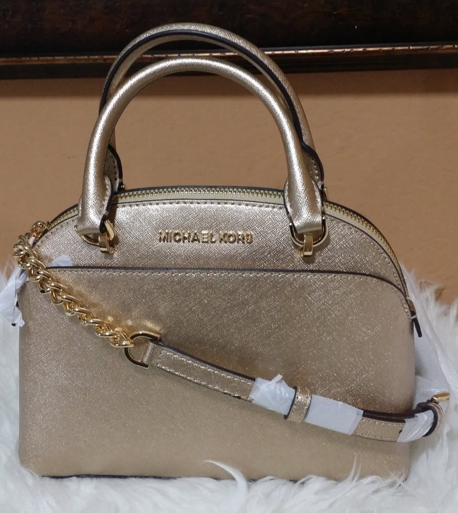 6315b74bc4f773 MICHAEL KORS EMMY SATCHEL DOME Leather BAG Purse Gold CINDY NWT