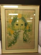 """Signed in Plate """"Stormen"""" Vintage Print by Bjørn Wiinblad Matted and Framed - $227.69"""
