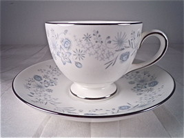 Wedgwood Belle Fleur Footed Cup and Saucer Set - $17.41