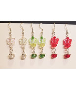 3 pr butterfly earrings lot bead drops dangles glass acrylic wholesale j... - $6.99