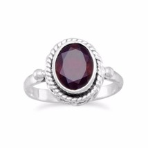 .925 Sterling Silver Faceted Garnet Ring with Rope Women's Ring - $39.06