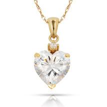 3.07Ct Created Diamond & Heart Sapphire Charm Pendant14K Yellow Gold w/Chain - $68.88+