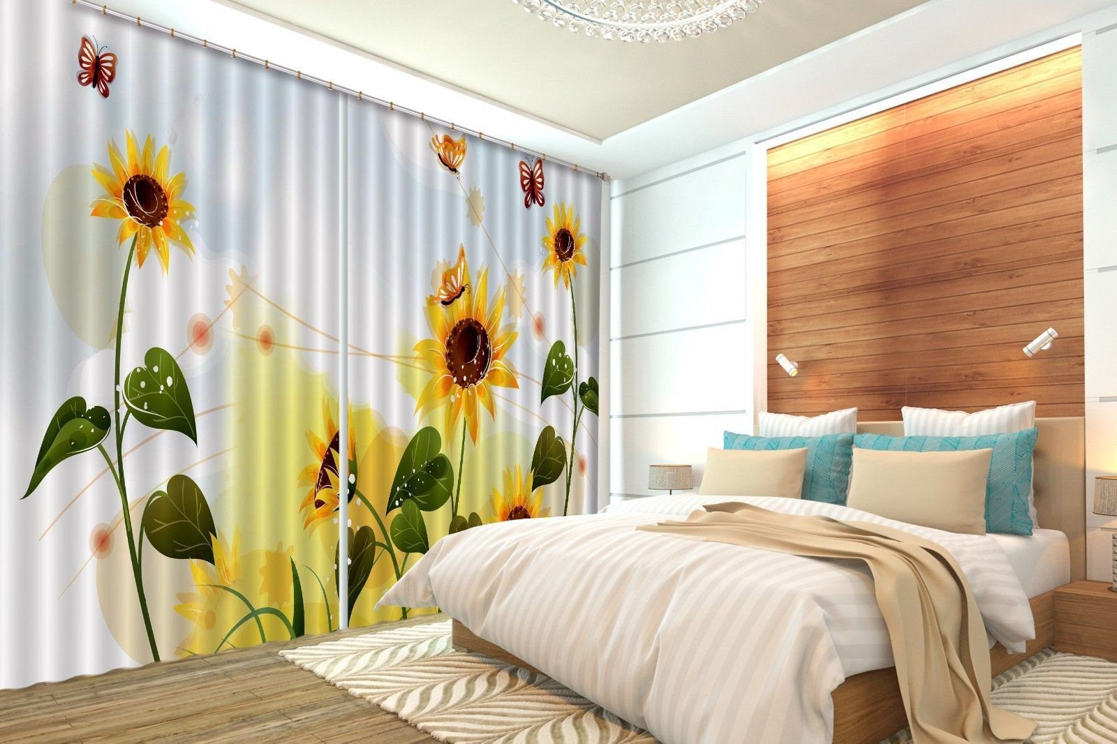 Primary image for 3D Sunflower Petals 066 Blockout Photo Curtain Print Curtains Drapes US Lemon