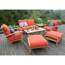 Luxury Teak Outdoor Sofa Chairs Seating Chat Group Patio Furniture Set L... - £1,567.58 GBP