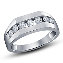 14k White Gold Plated 925 Silver Round Cut Simulated Diamond Men's Band Ring - $78.50