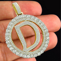 """Initial Letter """"D"""" Pendant Round Cut White CZ 14k Yellow Gold Plated 925 Silver - $144.90"""