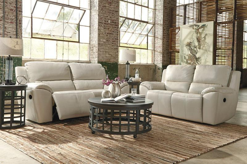OLSEN - Modern Real Cream Leather Reclining Sofa Couch Set Living Room Furniture