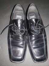 10.5 Size Men's Dress shoes Nathan Studio brand Square Toe  Black leather - $22.81