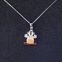 New 14k White Gold On 925 Sterling Silver Small Clown CZ Stones Pendant ... - $32.73