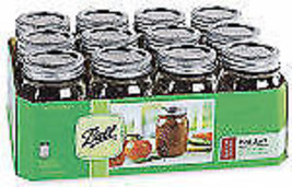 Ball, 12 Pack PT Tapered Regular Mason Jar, With 2 Piece Closures - $21.37