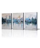 ARTLAND Modern 100% Hand Painted Framed Abstract Oil Painting Blue Villa... - $50.27
