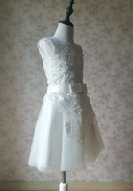WHITE Lace Tutu High Waist Dress White Knee Length Wedding Flower Girl Dress NWT image 3