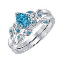 6x8mm Pear Cut Blue Topaz 14K White Gold Over Wedding Bridal Ring Set for Women - $111.99+