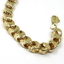 18K YELLOW GOLD BRACELET, BIG ROUNDED DIAMOND CUT OVAL DROPS 6 MM, ROUNDED image 8