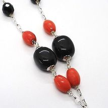 925 Silver Necklace, Agate Faceted Disc, Onyx, Coral, Flower Pendant image 4