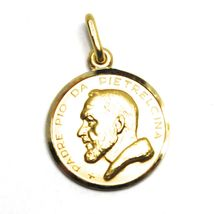 18K YELLOW GOLD MEDAL PENDANT, SAINT PIO OF PIETRELCINA SMALL 15mm VERY DETAILED image 3