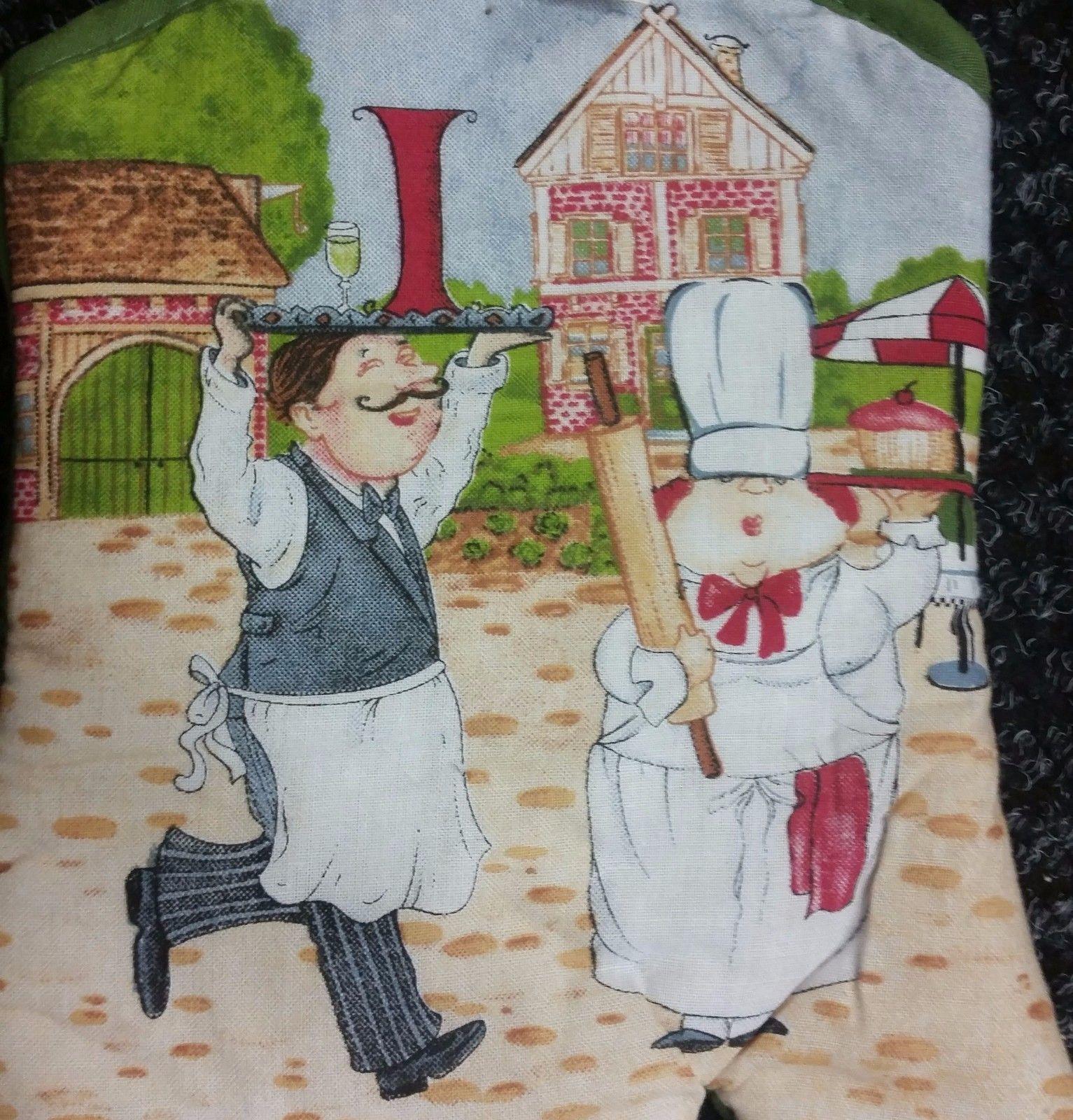"""Printed Kitchen Oven Mitt (12""""), Fat Chef, Waiter & Chef, green back"""