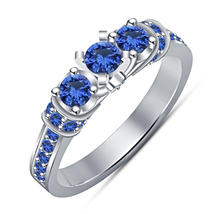 Three Stone Wedding Ring In Round Cut Blue Sapphire White Gold Plated 92... - $74.88
