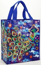 "Peacock Blue-Q Handy Tote New Re-Usable Bag 10""h x 8.5""w x 4.5""D Bird Fa... - $10.95"