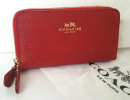Coach Red Pebbled Leather Mini Double Zip Wallet w/Gift Box Dustbag F639... - $57.99