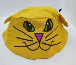 Cat Face Hat W/Ears Women's, Youth 100% Cotton Gold Face is Printed. EUC - $10.69