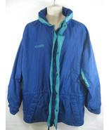 Columbia Sportswear Mens Large Blue Green Zip Up Winter Coat Parka Longs... - $29.69