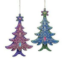 Set of 2 Peacock Glitter Christmas Tree Ornaments w - $14.99