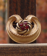 Rare 1960s Vintage Crown Trifari Brooch, L'Orient Collection, Red Rhines... - $75.00