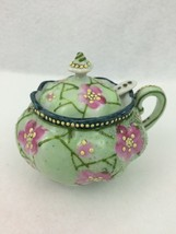 Vintage Dainty Fine China Sugar Bowl w/lid & spoon Hand Painted Floral's... - $17.72