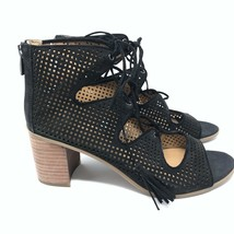 Franco Sarto Size 9 Honolulu Heeled Sandal Suede Black Perforated Lace Up Block  - $29.64
