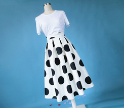 White A-Line Polka Dot Midi Skirt High Waisted Polka Dot Party Skirt Plus Size image 3
